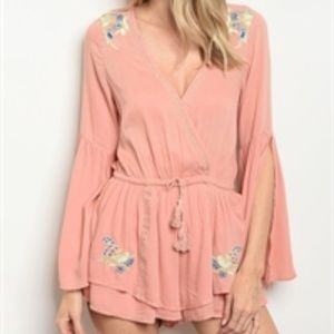 Pants - NWT Long Sleeve Blush Romper VNeck Embroidered S-L